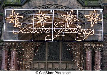 Seasons Greetings 01 - Decorative Xmas lights outside the ...