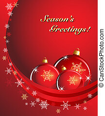 A Christmas vector of red baubles with snowflakes in white and gold. Room for your text. EPS10 vector format.