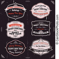 Illustration of a vintage set of red, black and grey merry christmas banners, badges, ribbons and frames for happy new year's eve holidays on chalkboard background