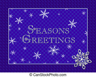 Seasons greetings - Blue background with white snowflakes
