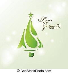Seasons greetings card wiyh Christmas tree stylized