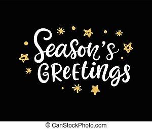 Seasons Greetings. Christmas ink lettering phrase - Seasons...
