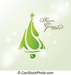 Seasons greetings card wiyh Christmas tree stylized