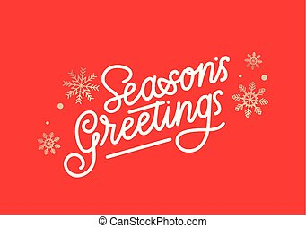 Season's greetings greeting card with lettering and golden snowflakes