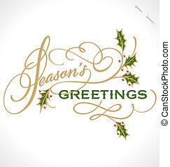 SEASON'S GREETINGS hand lettering - handmade calligraphy,...