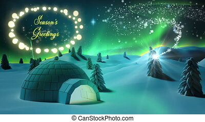 Seasons Greetings in a glowing frame