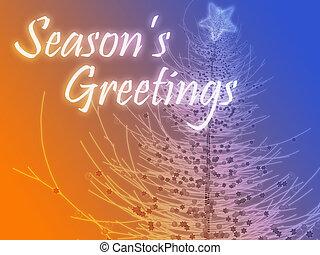 Merry christmas seasons greetings on tree illustration