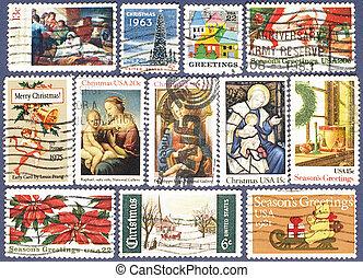 Season's Greetings. Postage stamps.