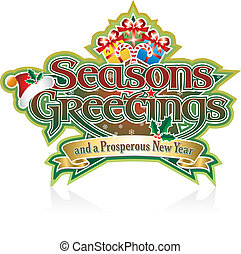 Seasons Greetings Lettering with Presents on Star editable vector graphic