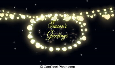 Animation of Seasons Greetings text with glowing fairy lights and fireworks exploding. Christmas and New Years Eve celebration festivity concept digitally generated image.