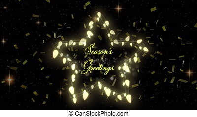 Animation of Seasons Greetings text with glowing fairy lights and gold confetti falling. Christmas and New Years Eve celebration festivity concept digitally generated image.