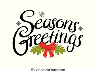 Seasons greetings calligraphy lettering text on red background with seasons greetings text m4hsunfo