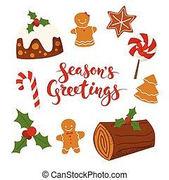 Season's Greetings vector Merry Christmas card design with Christmas food