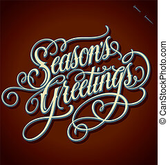 SEASON'S GREETINGS hand lettering - handmade calligraphy