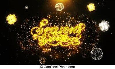 Seasons Greetings Wishes Greetings card, Invitation, Celebration Firework Looped