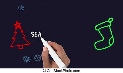 Animation of the words Seasons Greetings being written in white with snowflakes falling, an outlined red Christmas tree and green Christmas stocking on a black background