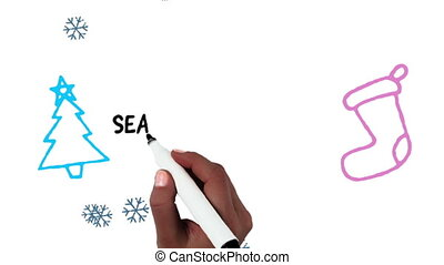 Animation of the words Seasons Greetings being written in black with snowflakes falling, an outlined blue Christmas tree and pink Christmas stocking on a white background