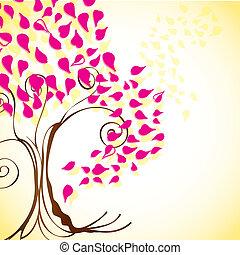 Seasons Icons - Season tree with fuchsia leaves vintage...