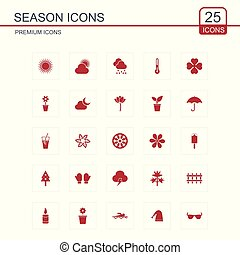Seasons icons set red