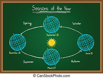 Seasons of the year on chalkboard