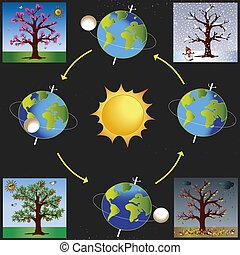 seasons - illustration of earth revolves around the sun