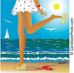 seasons: summer - sea, summer, beach, beautiful female legs...