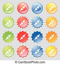 seat belt icon sign. Big set of 16 colorful modern buttons for your design. Vector