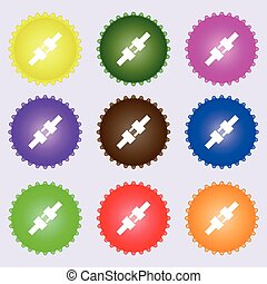 seat belt icon sign. Big set of colorful, diverse, high-quality buttons. Vector