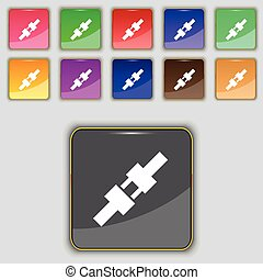 seat belt icon sign. Set with eleven colored buttons for your site. Vector