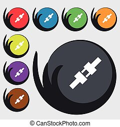 seat belt icon sign. Symbols on eight colored buttons. Vector