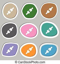 seat belt icon symbols. Multicolored paper stickers. Vector
