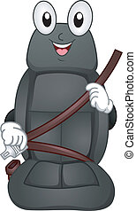 Seat Belt Mascot - Mascot Illustration Featuring a Car Seat...