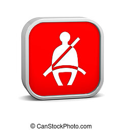 Seat Belt sign on a white background. Part of a series.