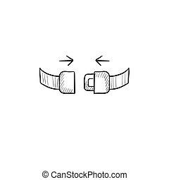 Seat belt sketch icon.