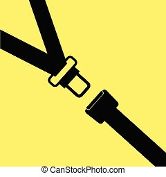 seat belt vector on yellow