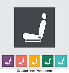 seat., ikon, upphettad