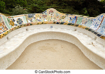 Seat in Park Guell designed by Antoni Gaudi, Barcelona Spain