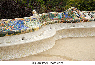 Seat in the Park Guell designed by Antoni Gaudi, Barcelona Spain