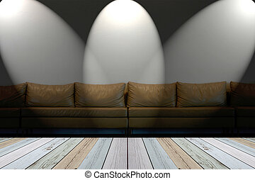 seat on white wall with lights  in dingy room