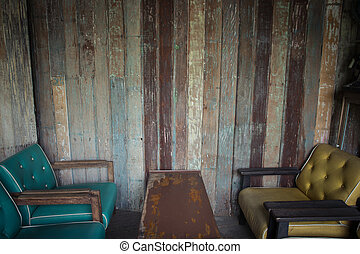seat - Seat vintage with wood wall background
