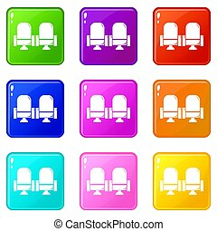 Seat theater icons set 9 color collection