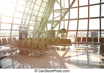 Seat Waiting Area International airport building View of the Planes and runway outside the window