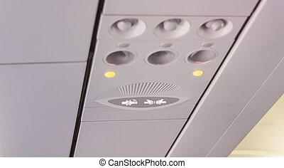 seatbelt , όχι , εσωτερικός , σήμα , κάπνισμα , αεροπλάνο