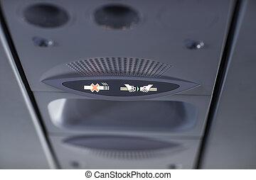 seatbelt , όχι , σήμα , αεροπλάνο. , στερεώνω , κάπνισμα