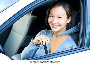 seatbelt., always, autó, rögzít, leány, -e