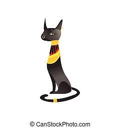 Seated black cat, Bastet - ancient Egypt goddess