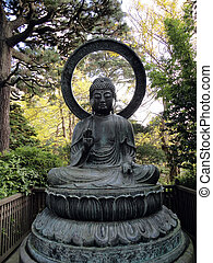 Seated Budda Statue in the Japanese Gardens in San Francisco...
