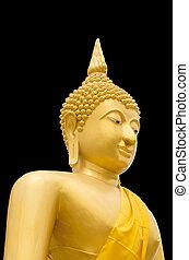 Seated Buddha Image on Black Baclground
