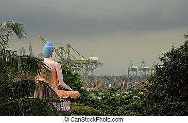 Seated Buddha views busy seaport