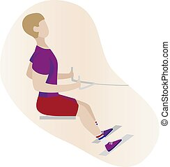 Seated Cable Rows Flat vector illustration. Fitness man